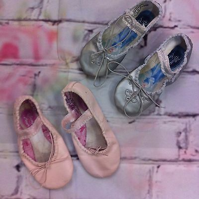 Capezio Disney Princess Ballet Shoes Slipper Toddler Size 10M Silver Pink Lot