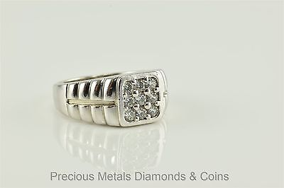 Men`s Sterling Silver 1tcw Clustered Ribbed Band Statement Ring Sz: 11