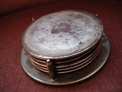 set of 6 silver plate coasters