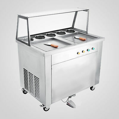 Double Pans Thai Fried Ice Cream Machine Roll Maker 5 Boxes