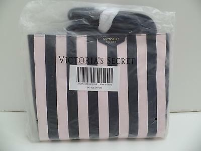 Victoria's Secret Pale Pink Black Striped Tote Bag Handbag Shopping Beach NEW