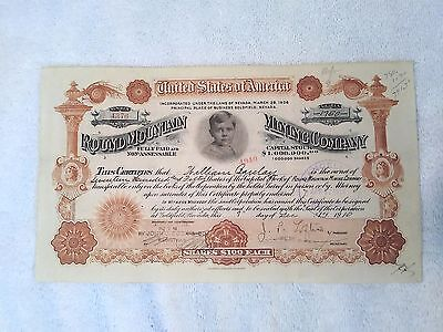 Original Antique 1910 ROUND MOUNTAIN MINING COMPANY Stock Certificate - Nevada