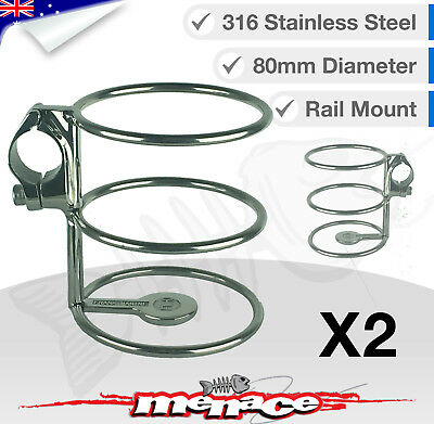 2 x 316 Stainless Steel Rail Mount Drink Cup Holder Clamp Fishing/Boat/Kayak
