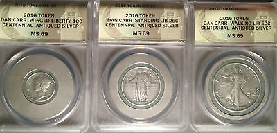 2016 Daniel Carr Antiqued Silver Round Set, Standing/Walking Liberty and Mercury