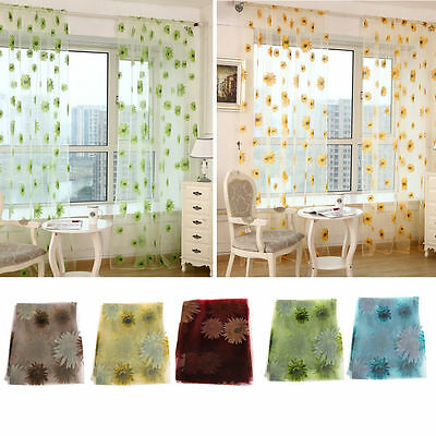 Sunflower Voile Curtain Window Flower Tulle Curtain Sheer Valance Room 1x2Meter