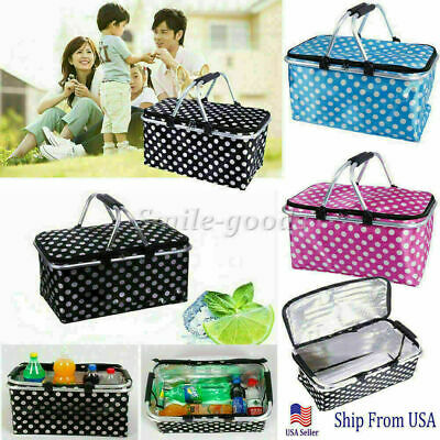 Basket Lunch Picnic Food Folding Insulated Cooler Camping Bag Box