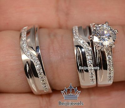 Diamond Trio Set 14K White Gold Ladies Engagement Ring Mens Wedding Band 1.80Ct