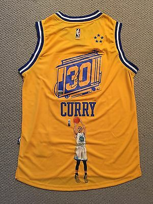 Stephen Curry Rare Painted Signed Golden State Warriors Adidas Jersey Coa / Holo