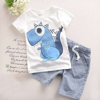 2PCS Toddler Boy Kids Outfits Dinosaur T-shirt+Striped Shorts Casual Clothes Set