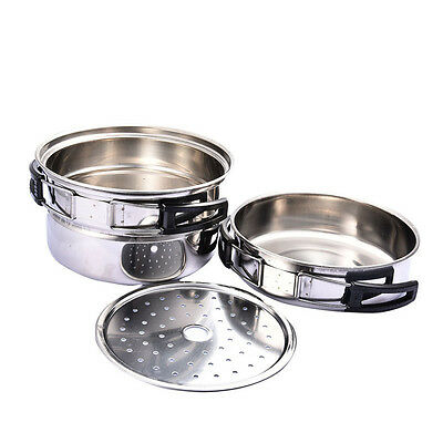 Stainless Steel Outdoor Cookware Frying Pan + Pot Set Camping Picnic Cooking Kit