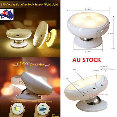 Rechargeable 360 Degree Rotating LED Motion Sensor Night Light Bedroom Wall Lamp