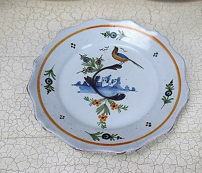 Antique French Faience Strasbourg Platter Luneville Bird 18th - 19th C 9.05""