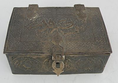 Egyptian, Islamic, Arabic Antique Sterling Silver Ornate hinged Box, handmade