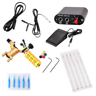 Complete Tattoo Kit Professional Rotary Machine Gun Power Supply Foot Pedal