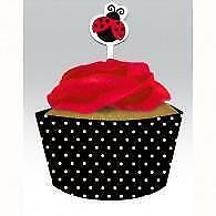 LadyBug Cupcake Wrapper and Cupcake Topper Set