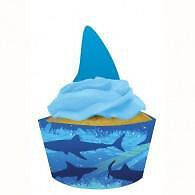 Shark Splash Cupcake Wrapper and Cupcake Topper Set