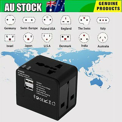 Universal World Travel Adapter Dual 2 USB Plug Charger AC Power UK US EU OL OL