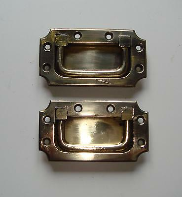 Pair of Unused Victorian Brass Campaign Chest Handles