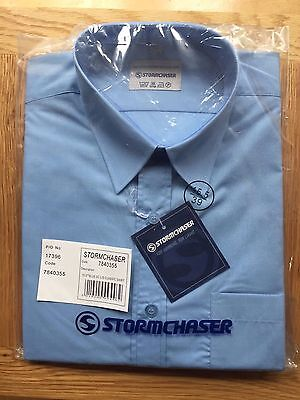 Stormchaser Mens Classic Shirt Long Sleeves Blue Polycotton Sizes 15 15.5
