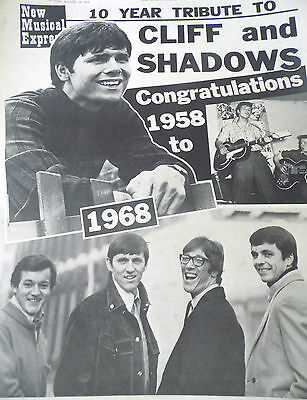 Cliff Richard & The Shadows 10 Years Together 2 Page Pull Out Souvenir 1968