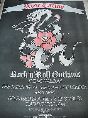 "Rose Tattoo ""rock And Roll Outlaws"" Tour Dates Advert A3"