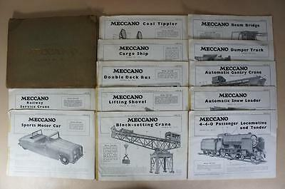 Meccano special model leaflets No. 1-12 in outer card wallet