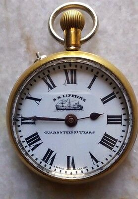 S. S. Lifetime Winding Pocket watch in Porcelain dial Brass Body
