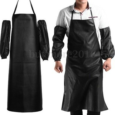 Leather Apron With Cuff Oversleeve Waterproof Anti-Oil Restaurant Cooking Chef
