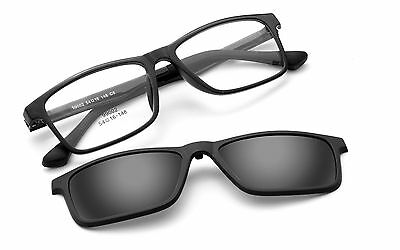 Magnetic Polarized Clip-on Driving Sunglasses Rx Eyeglass Frames Mirror Lens