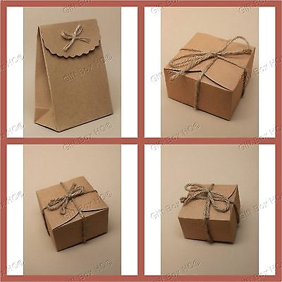 Natural Brown Gift Box String Craft Paper Flat Pack Small Present New