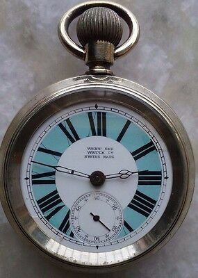 WEST END WATCH CO Pocket Watch Procelain Dial With White and Sky Blue Colour