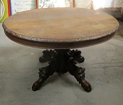 Antique French Round Dining Table Henry II Dragon Legs  Hunt Carved Wood