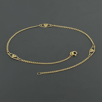 "14K Yellow Gold Interlink Chain W/diamond Shape Heart Stations 10"" Anklet"