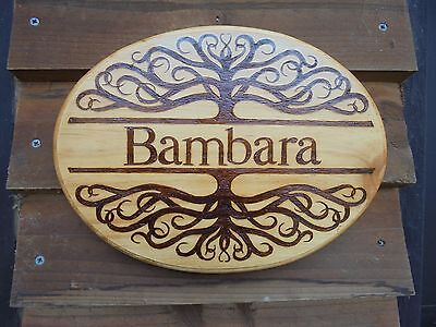 medium oval Personalised Tree style House Home Family name handburnt wood sign