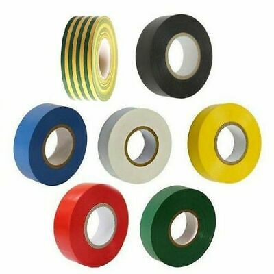 20 Metre Rolls Electricians Pvc Insulating Insulation Tape 7 Assorted Colours