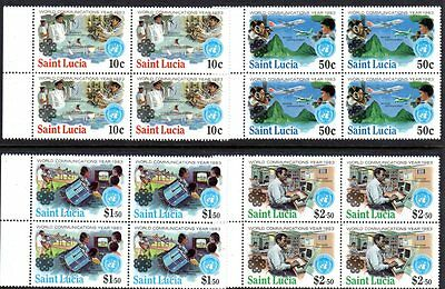 ST. LUCIA 1983 Communications Year Set in Singles & Blocks MNH