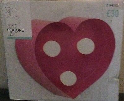 Brand New Next Girls Pink Pretty Heart Feature LED Wall Light Free Postage