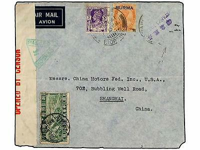 CHINA. 1941 (Nov 7). Airmail cover to SHANGHAI franked