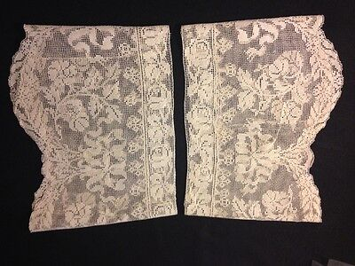 Antique Edwardian Era Two Large Beautiful Italian Lace Cuffs Needlework on Net