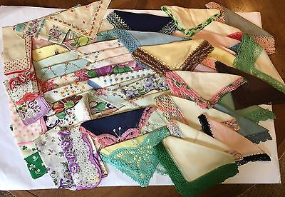 Vintage Lot of 55 Hankies ~ Embroidered, Crochet, Floral, Butterfly, St Patricks