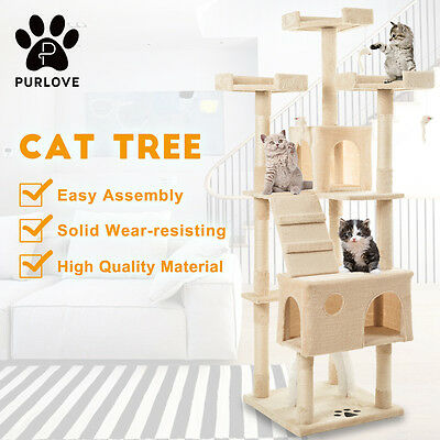 PURLOVE Large Cat Climbing Tree Tower Sisal Scratching Post with Cat Arch