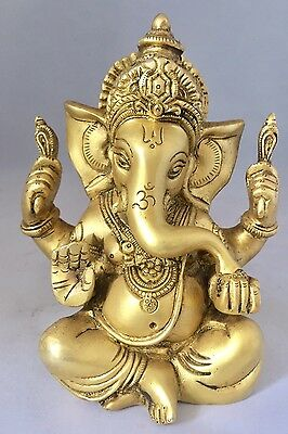 Ganesha 5.5'' HEAVY Brass Ganesh elephant face god Hinduism Golden statues
