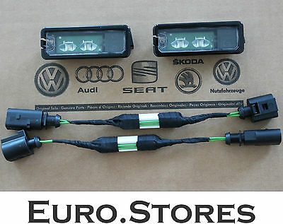 VW Golf 7 License Plate LED Lights With Adapters For Retrofitting Genuine New