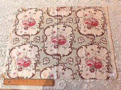Antique French Or English Hand Blocked Old Rose Chintz Style Cotton Fabric c1920
