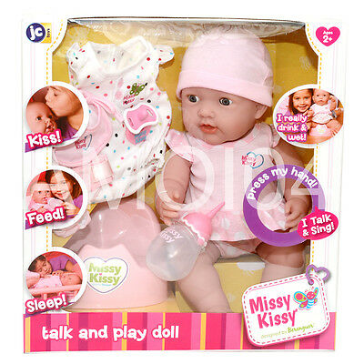 Berenguer Missy Kissy Baby Doll Kiss, Feed, Sleep - Talk & Sing, Open/Close Eyes