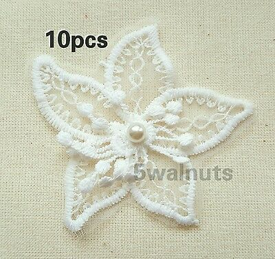 10 Embroidered Lace Organza & Pearl FLOWERS - Applique Motif Trim Patch Sew on