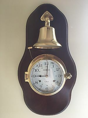 Howard Miller 613-463 Brass Ship's Bell Chime Wall Clock Mounted Wood Plaque