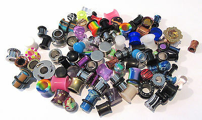 100 Pair Wholesale Lot Lobe Plugs Tunnels from 8g to 00 gauge Excellent Reseller