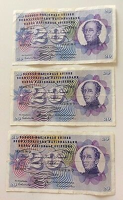Lotto Di 3 Banconote Svizzere Da 20 Franchi - Lot Of 3 20 Francs Swiss Banknotes