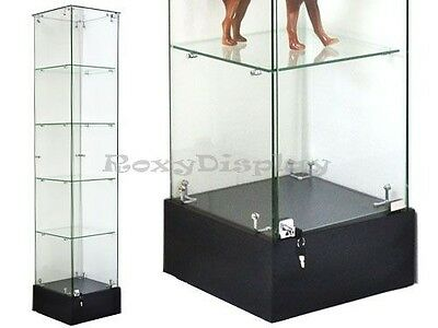 Glass Square Display Tower With Black Base Store Fixture Knocked Down #GS15B